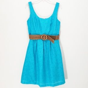 Nine West Dress Fit & Flare Sleeveless Belted 12